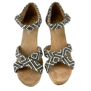 TOMS Woven Diamond Strappy Wedge Sandal